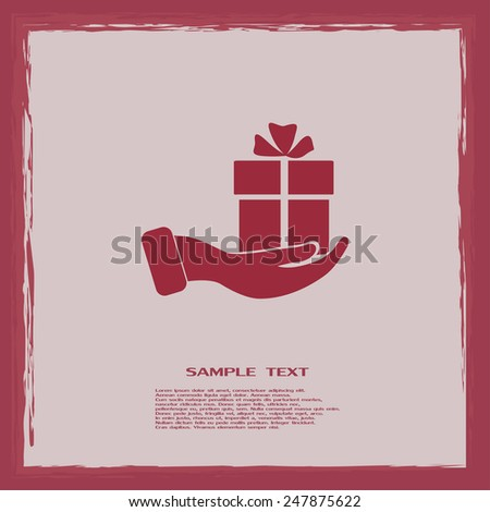 Vector icon gift in hand - stock vector