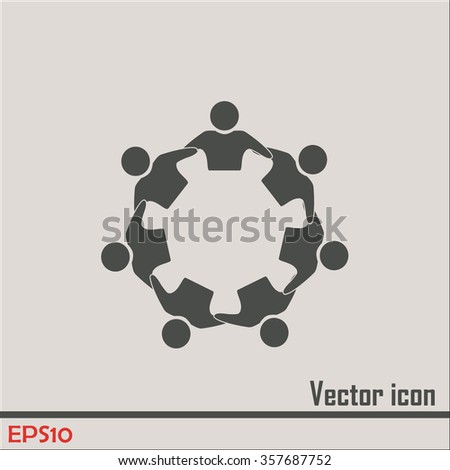 Vector Icon Graphic Teamwork Hug 6 -Group of People - stock vector