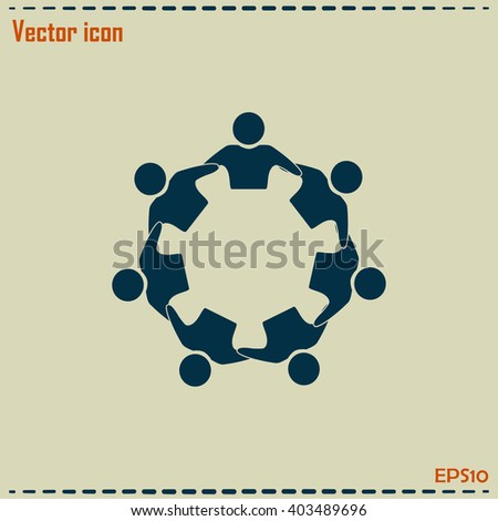 Vector Icon Graphic Teamwork Hug 7 - Group of People - stock vector