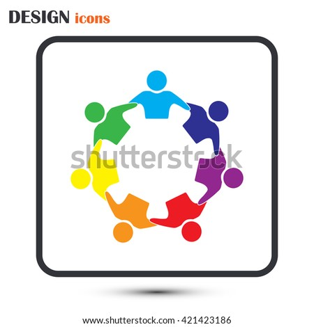 Vector Icon Graphic Teamwork Hug 7 -Group of People - stock vector