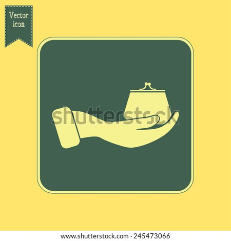 Vector icon hand holding a purse sign. - stock vector