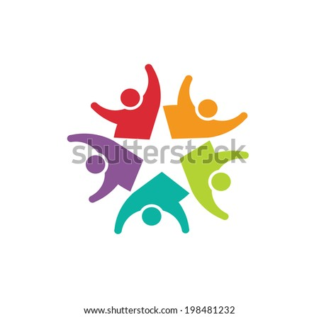 Vector Icon Happy Team Star, Group of People. - stock vector