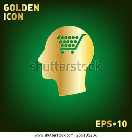 Vector Icon head think silhouette vector man and his mind about cart online store, Internet shop. basket shopping - stock vector