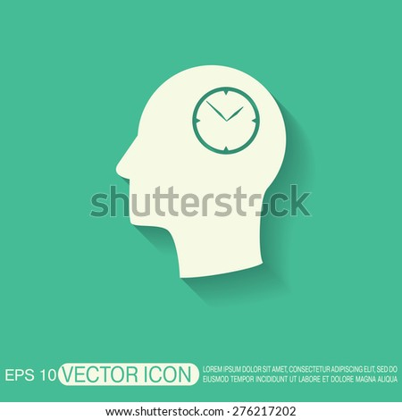 Vector Icon head think silhouette vector man and his mind about clock. watch sign, Icon watch. symbol time