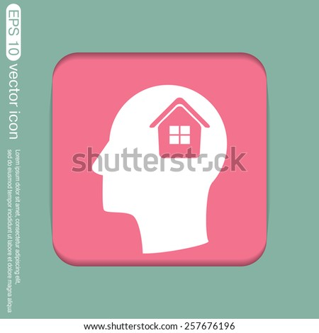 Vector Icon head think silhouette vector man and his mind about  House icon. Home sign - stock vector