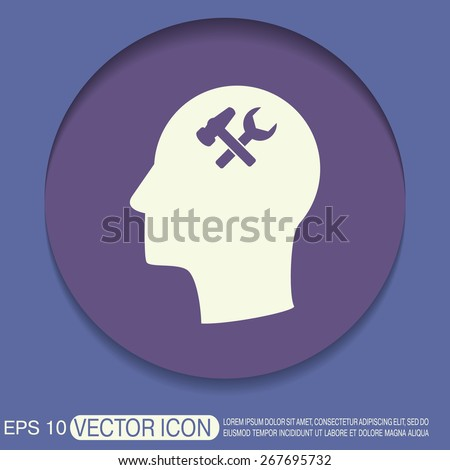 Vector Icon head think silhouette vector man and his mind about  symbol settings sign, hammer and wrench - stock vector