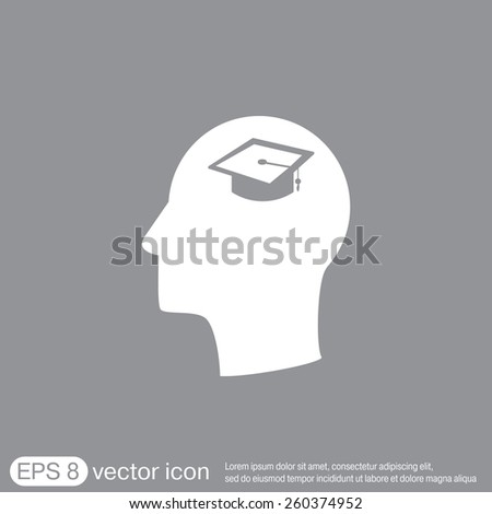 Vector Icon head think silhoutte vector man and his mind about  graduate hat sign. Education sign. symbol icon college or institute. graduation - stock vector