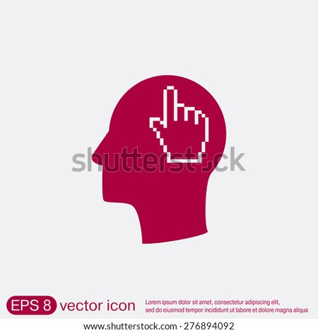 Vector Icon head think silhoutte vector man and his mind about mouse hand cursor. pixel view - stock vector