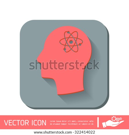 Vector Icon head think silhoutte vector man and his mind about the atom, molecule. the symbol of physics and chemistry. symbol icon of physics or chemistry . the study of science - stock vector