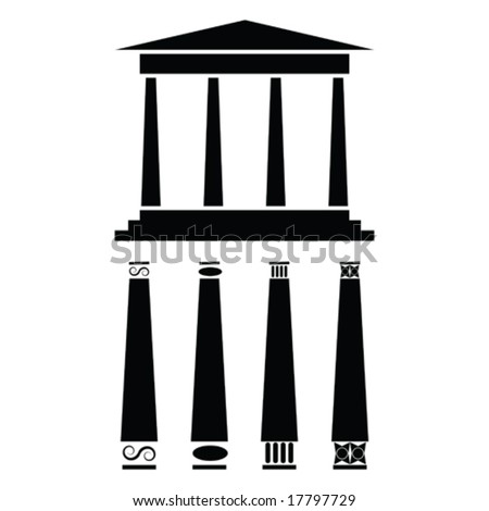 Vector icon illustration of ancient Greek style temple or building. For jpeg version, please see my portfolio. - stock vector