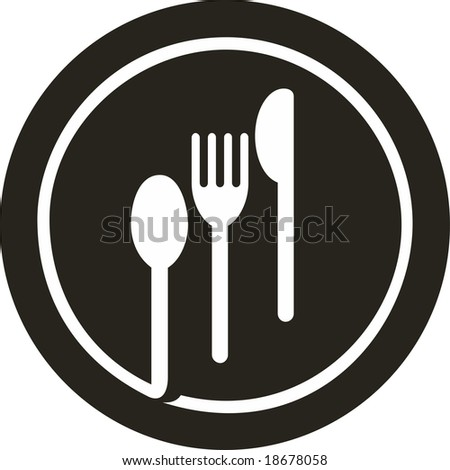 Vector icon illustration of plate with fork, knife and spoon on top of it - stock vector