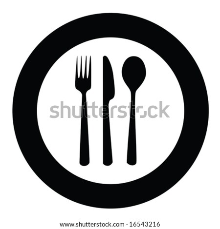 Vector icon illustration of plate with fork, knife and spoon on top of it. For jpeg version, please see my portfolio. - stock vector