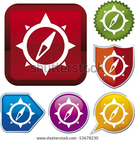 Vector icon illustration of windrose over diverse buttons. Only global colors. CMYK. Easy color and proportions changes. - stock vector