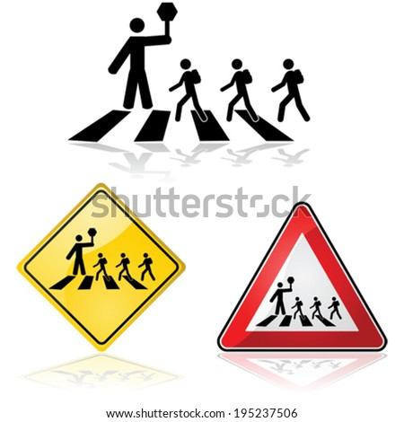 Vector icon illustration showing a crossing guard with a stop sign and children crossing the street