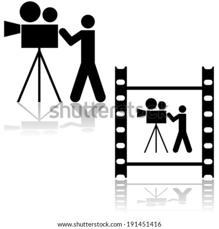 Vector icon illustration showing a man operating a film camera, within a film strip or by itself  - stock vector