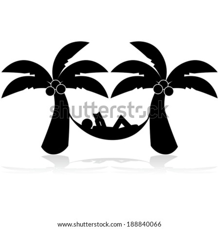 Vector icon illustration showing a man relaxing on a hammock between two palm trees - stock vector