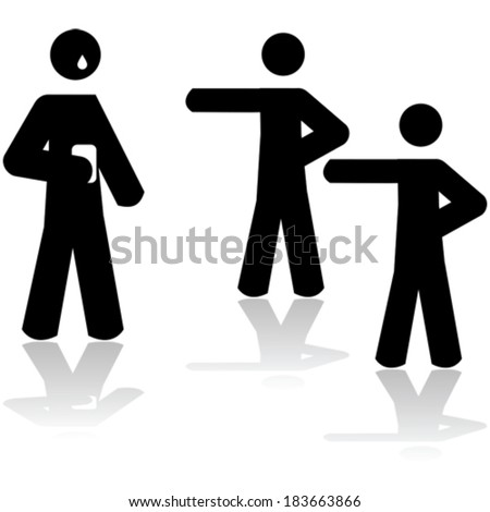Vector icon illustration showing two people pointing at a third person holding a smartphone and crying  - stock vector