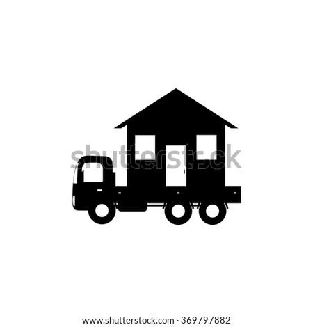 vector icon mobile home, black silhouette - stock vector