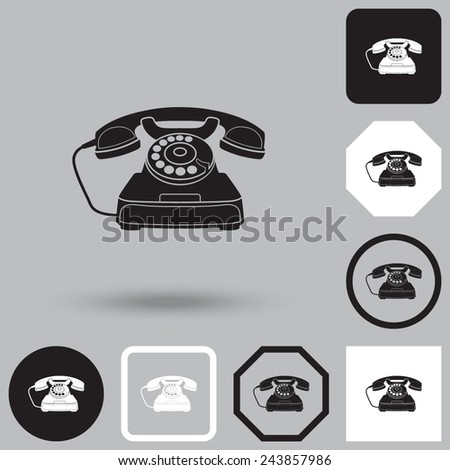 Vector icon of a retro phone. - stock vector
