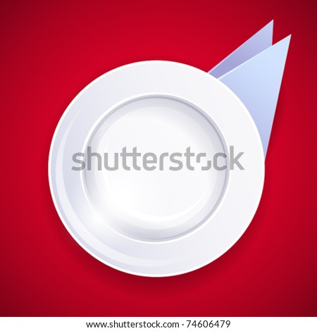 vector icon of a white plate and napkins, isolated on soft red background