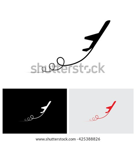 vector icon of airplane icon take off showing its path & in high speed. This illustration can also represent silhouette symbol of a military jet speeding up in the sky - stock vector