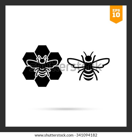 Vector icon of bee and bee sitting on comb - stock vector