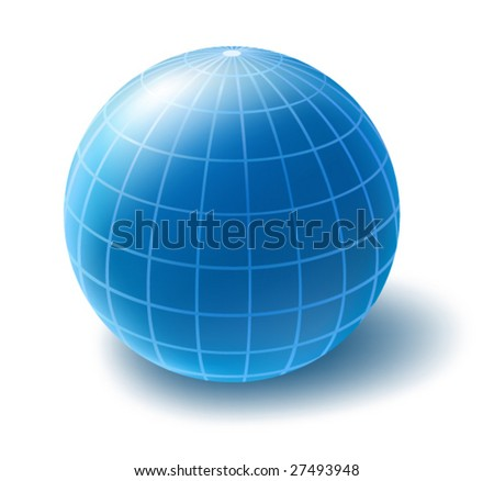 Vector icon of blue globe