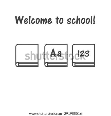 Vector icon of book, school symbol, book logo (primer, ABC-book, children's primer) - stock vector