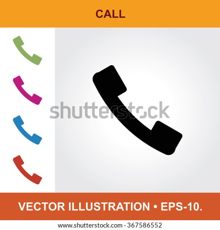 Vector Icon Of Call With Title & Small Multicolored Icons. Eps-10. - stock vector