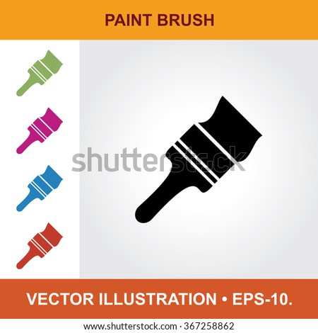 Vector Icon Of Color Paint Brush With Title & Small Multicolored Icons. Eps-10. - stock vector