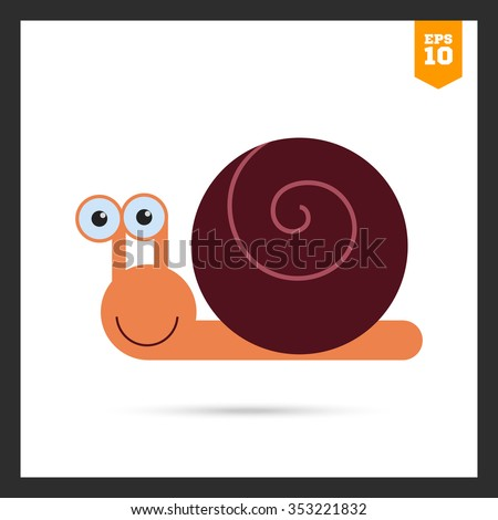 Vector icon of cute smiling cartoon snail