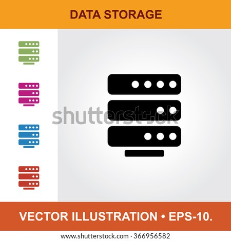 Vector Icon Of Data Storage With Title & Small Multicolored Icons. Eps-10. - stock vector