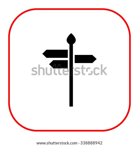 Vector icon of direction sign with arrow boards showing various directions - stock vector