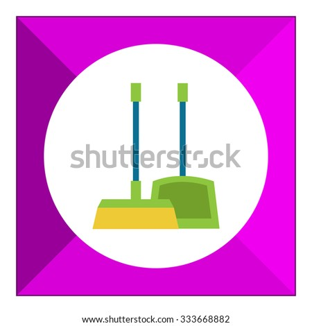 Vector icon of dustpan and broom, isolated on white