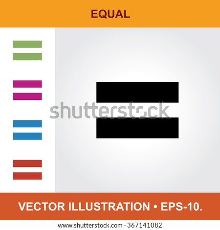 Vector Icon Of Equal With Title & Small Multicolored Icons. Eps-10.