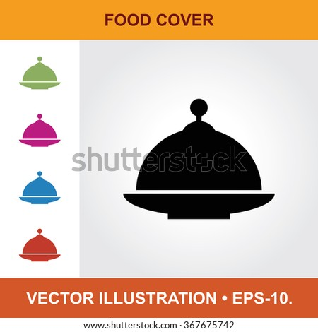 Vector Icon Of Food Cover With Title & Small Multicolored Icons. Eps-10. - stock vector
