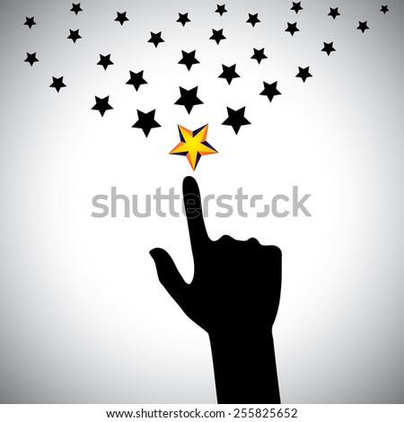 vector icon of hand reaching for stars - concept of ambition. This also represents concepts like aspiration, determination, will power, greed, hope, dreams, initiative, trying, spirit, select, choose - stock vector