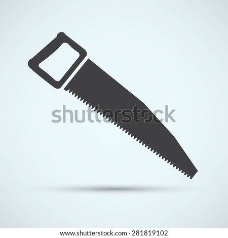 vector icon of hand saw - stock vector