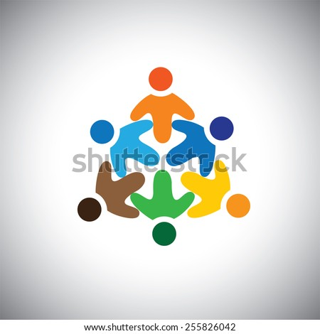 vector icon of happy, excited, joyous people circle. This also represents celebration, community, entertainment, fun, party, frenzy, disco, dance, excitement - stock vector