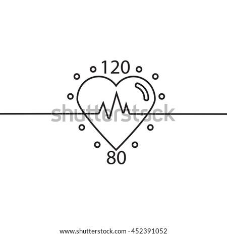 Vector icon of healthy heart, pulse, blood pressure. Logo cardiology clinic.  Conceptual linear vector illustration. - stock vector