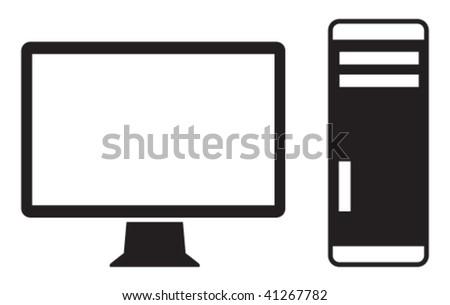 Vector icon of high-end computer. - stock vector