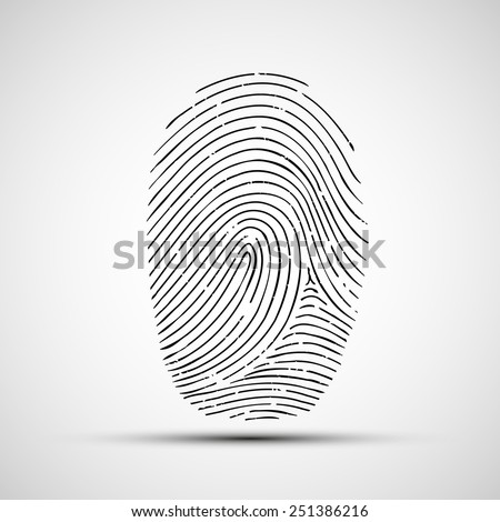 Vector icon of human finger print - stock vector