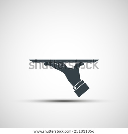 Vector icon of human hand with a tray - stock vector