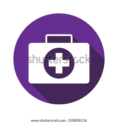 Vector icon of medicine chest with shadow - stock vector