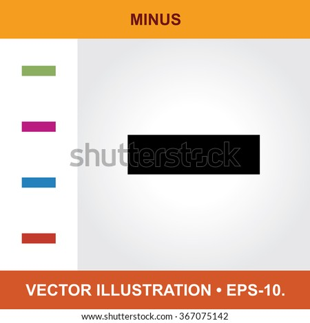 Vector Icon Of Minus With Title & Small Multicolored Icons. Eps-10.