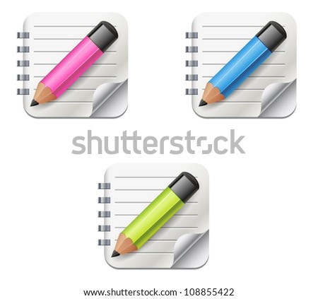 Vector icon of open notepad with pencil in pink, blue and green colors - stock vector