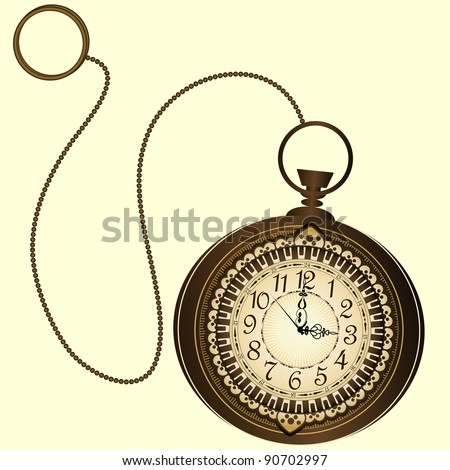 Vector icon of retro pocket watches with chain - stock vector