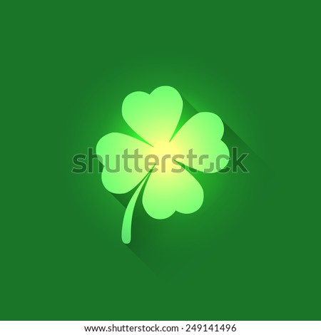 Vector Icon of Shamrock Clover Leaf on green background. This image is part of a set with symbols of Ireland: http://www.shutterstock.com/sets/8946179-saint-patrick-s-day.html?rid=1733857 - stock vector