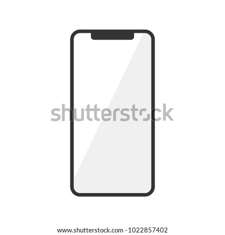 Vector Icon of Smartphonehone Isolated on White Background. Mobile, Smartphone, Phone. Front View. Vector Illustration.