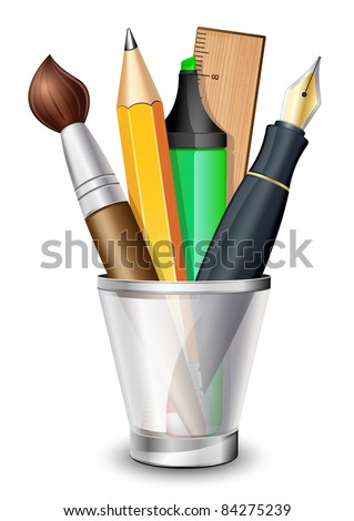 Vector icon of the brush, pencil, pen, ruler and marker in the holder - stock vector